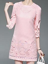 Femme Broderie Trapèze Robe Sortie Vintage,Fleur Col en V Au dessus du genou Manches ¾ Rayonne Printemps Taille Haute Non Elastique Fin