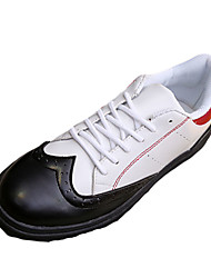 Men's Sneakers Spring Fall Other PU Outdoor Athletic Casual Lace-up Black White Black and White Walking