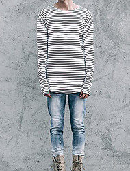 Herren Gestreift Einfach Ausgehen Lässig/Alltäglich T-shirt,Rundhalsausschnitt Herbst Langarm Weiß Schwarz Baumwolle Dünn Mittel