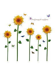 Wall Stickers Wall Decals Style Sunflower Butterfly PVC Wall Stickers