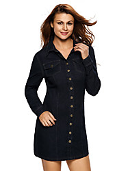Women's Dark Wash Long Sleeve Button Front Denim Dress