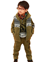 Boy's Cotton Fashion Spring/Fall/Winter Going out Casual/Daily Vest Coat & Fawn Print Hoodie & Pants Three-piece Set