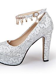 Золотой Белый Красный-Для женщин-Свадьба Повседневный Для вечеринки / ужина-Лак-На толстом каблуке Блочная пяткаОбувь на каблуках