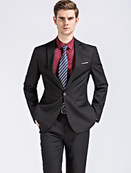 Men's Plus Size Casual/Daily Work Simple Street chic All Seasons Suits,Solid Notch Lapel Long Sleeve Black Gray Cotton