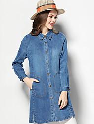 Gaine Robe Femme Décontracté / Quotidien simple,Couleur Pleine Col de Chemise Au dessus du genou Manches Longues Bleu Coton Printemps
