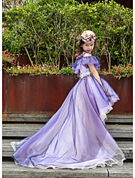 Ball Gown Asymmetrical Flower Girl Dress - Tulle Charmeuse Sleeveless Off-the-shoulder with Pearl