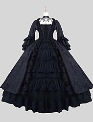 Une Pièce/Robes Gothique Victorien Cosplay Vêtrements Lolita Jacquard Manches Longues Cheville Robe Pour Satin