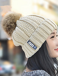 New Women 'S Letters Labeled Super - Large Ball Knit Hat Single Hat Warm Ear Sets Of Hat