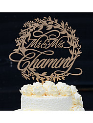 Wood Wedding Cake Topper Personalized with Family Name in Natural Wood Color or Hand Painted in Metallic Gold or Silver