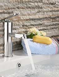 Contemporary Brass Chrome Bathroom Sink Faucet - Silver