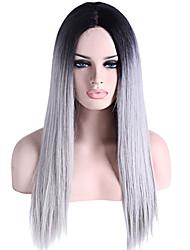 / Colore grigio parrucca anteriore resistente radice nera pizzo sintetico di calore lungo rettilineo capelli di due toni ombre T1b capelli