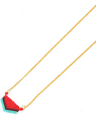 Women's Pendant Necklaces Gold Plated Glass Basic Handmade White Black Red Jewelry For Birthday Daily 1pc