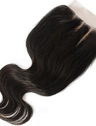 8-20inch 4x4 Spitze Verschlusskörperwellen-Menschenhaarschliessen mittelbraune Schweizer Spitze des brasilianischen reinen Haares mit ncie