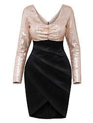 Women's Sequin Sequin Long Sleeve Tulip Wrap Midi Dress