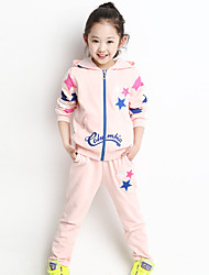 Girl's Cotton Fashion Spring/Fall Going out Casual/Daily Print Long Sleeve Hoodie Jacket Coat & Pant Two-piece Set Sport Suit