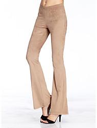 Femme simple Micro-élastique Pantalon,Boot Cut Couleur Pleine