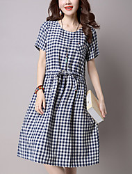 Women's Casual/Daily Street chic Loose Dress Check Elastic Waist Knee-length Short Sleeve Blue /Black Cotton /Linen Summer