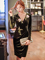 Women's Going out Casual Daily Vintage Party Cocktail Street chic Sophisticated Punk & Gothic Bodycon Sheath Dress Solid Ruched Long Sleeve
