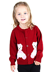 Girl Going out Casual/Daily Holiday Color Block Animal Print Embroidered Sweater & Cardigan,Cotton Knitwear Winter Spring Fall Long Sleeve