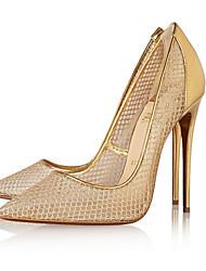 Золотой Черный-Для женщин-Для офиса Повседневный Для вечеринки / ужина-Тюль-На шпилькеОбувь на каблуках