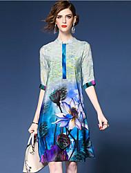 Trapèze Robe Femme Sortie Chinoiserie,Imprimé Mao Mi-long ½ Manches Bleu Polyester Printemps Taille Normale Micro-élastique Moyen