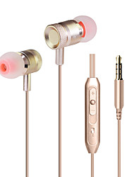 HUAST KDK-203 Wired Hifi Earpiece Mini Metal Earphones with Microphone Heavy Bass Sound Quality Music Earbuds for All Mobile Phone