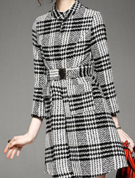 Women's Casual/Daily Simple Chinoiserie Black and White Dress,Striped Check Round Neck Above Knee Long Sleeve Black Polyester FallHigh