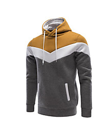 Men's Petite Casual/Daily Active Hoodie Solid Oversized Round Neck Removable Lining Micro-elastic Cotton Long Sleeve Spring