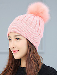 Fashion Women 'S Wool Pure Color Wool Ball Single - Hood Knit Cap Warm Winter Wool Hat
