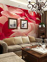 JAMMORY Living Room Large Fresco TV Wall Background Wall Bedroom Wallpaper Mural 3d Wallpaper Large Red Light Pink Rose Petal XL XXL XXXL