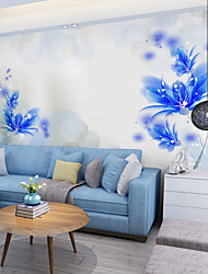JAMMORY Art DecoWallpaper For Home Wall Covering Canvas Adhesive required Mural Blue Flowers XL XXL XXXL