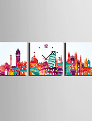 MINI SIZE E-HOME Famous City Mark Clock in Canvas 3pcs