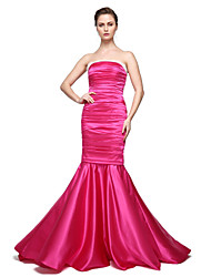 Mermaid / Trumpet Strapless Floor Length Stretch Satin Formal Evening Dress with Pleats by TS Couture®