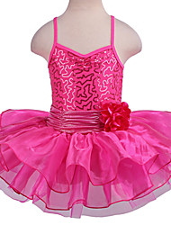 Ballet Tutus & Skirts Children's Performance Spandex Polyester Organza Ruffles Sequins 1 Piece Sleeveless Tutus