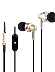 HUAST HST-52 Stereo HeadPhone In Ear Earphone Metal Handsfree Headset with Mic 3.5mm Earbuds For All Phone MP3 Player