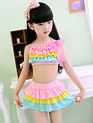Girl Ruffle Rainbow Patchwork Swimwear,Spandex