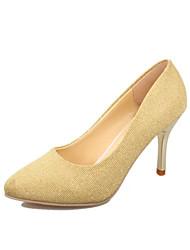 Women's Heels Spring Fall Comfort PU Wedding Party & Evening Dress Casual Stiletto Heel Sparkling Glitter Black Yellow Red Gray Walking