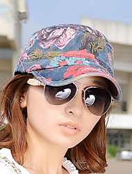 Fashion Folk Style Graffiti Flowers Canvas Flat Cap Ladies Hat Leisure Peaked Cap
