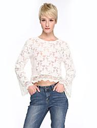 Tee-shirt Aux femmes,Couleur Pleine Sexy Printemps Manches Longues Col Arrondi Blanc Rayonne Transparent