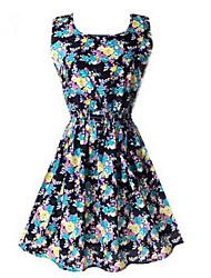 ZAY Women's Stylish Big Flower Sleeveless Casual Slim Dress