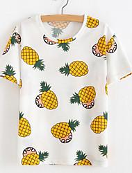 Damen Druck Einfach Lässig/Alltäglich T-shirt,Rundhalsausschnitt Sommer Kurzarm Rot / Weiß / Gelb Polyester Undurchsichtig