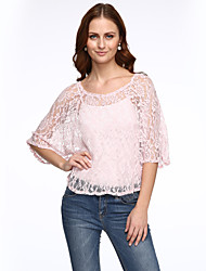 Women's Lace Going out Sexy Blouse,Solid V Neck Long Sleeve Red/Black Rayon Medium