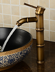 Deck Mounted Antique Brass Wealth Bamboo Faucet Bathroom Vessel Sink Mixer Tap 2016 Factory Direct Brass Classic Design Style