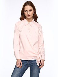 Women's Solid Pink Blouse,V Neck Long Sleeve