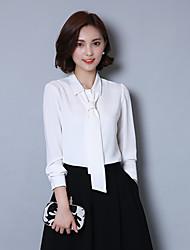 Женский На каждый день / Офис / Большие размеры Весна / Осень Рубашка Рубашечный воротник,Простое Однотонный Красный / Белый / Серый