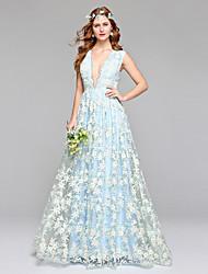 Lanting Bride® Trapèze Robe de Mariage  Tout Simplement Superbe Longueur Sol Col en V Dentelle Tulle avec Dentelle