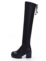 Women's Boots Fashion Boots PU Fall Winter Casual Fashion Boots Chunky Heel Black 2in-2 3/4in
