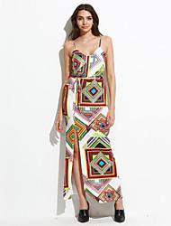 Women's Going out / Club Boho Bodycon Dress,Print Strap Maxi Sleeveless Polyester Summer Print Randomly