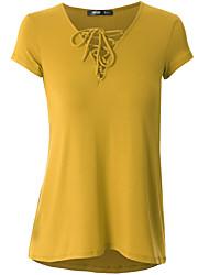 Damen Solide Einfach Niedlich Street Schick Übergröße Ausgehen Lässig/Alltäglich T-shirt,V-Ausschnitt Frühling Sommer KurzarmBlau Rosa