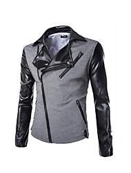Men's Casual/Daily Street chic Fall Winter Blazer,Color Block Deep V Long Sleeve White Gray Cotton